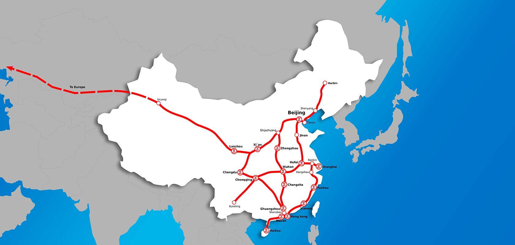 China Map Stations 2050